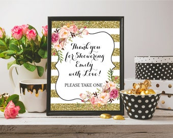 Printable Baby Shower Favors Sign, Personalized Gold Glitter Favors Sign, Bridal Shower Favors Sign, Thank You For Coming, Please Take One