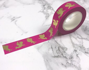 Pink & Gold Foil Angel Wings Washi Tape // Decorative Paper Masking Drafter Planner Scrapbooking Tape