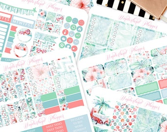 Vintage Summer - Beach Themed Planner Sticker Kit // 140+ Stickers // Perfect for Erin Condren Vertical Life Planner