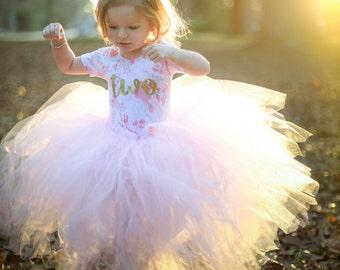 Light Pink Tutu Skirt, Long Tutu Skirt, Flower Girl Tutu, Wedding Tutu, Birthday Tutu, Baby Cake Smash, One Year Photo Prop, First Birthday