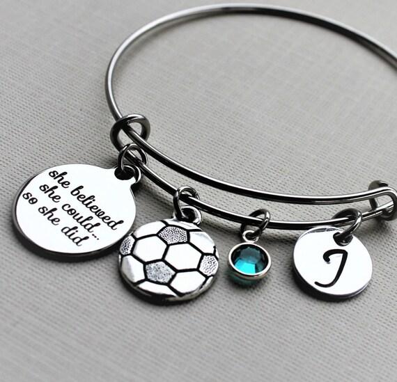 soccer bracelet personalized soccer bracelet soccer bangle