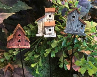 Miniature Rustic Birdhouse - Red, White OR Blue - Your Choice!