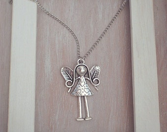 Invisible Friend-Free Shipping-Angel girl-Wings girl pendant-Antique silver-different long chain to choose from