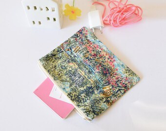 Liberty of london clutch , green blue and pink , makeup pouch , travel pouch , clutch , liberty of london , christmas , flowers , nature
