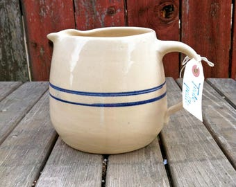 Vintage Antique Master Potter E J Humphries Blue Stripe Ceramic Jug, Primitive Water Jug, Ceramic Pottery, Farmhouse Decor, Pottery Pitcher