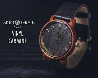 Wooden Watch, Engraved Watch, Wood Watch, Wood Watch men, Mens wood Watch, Wooden Watches for men, Engraved Wooden Watch, Carmine