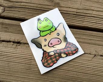 "Cute Little Pig ""Red Flannel"" Piggy Vinyl Die Cut Art Decal Indoor/Outdoor Sukoshi Buta Mini Pig Pigxel Art"
