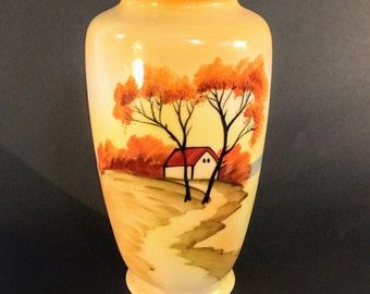 Handpainted Porcelain Vase, Noritake Like Japanese Vase, Farmhouse Scene, Vase Made In Japan, Asain Decor 1920-1940's