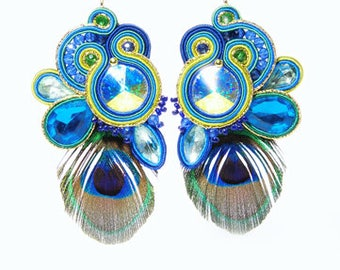 Peacock Feathers Turquoise Blue Green Gold Soutache Earrings Swarovski