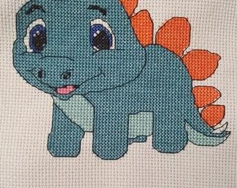 Cute baby dinosaur Stegosaurus cross stitch pattern - PDF