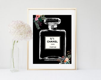 Chanel Perfume bottle, Chanel Art Print, Coco Chanel, Printable Art, Fashion Print, Bedroom Decor, Black Wall Art, Perfume Bottle