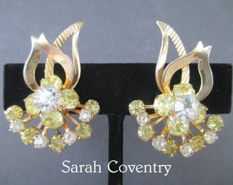 Sarah Coventry Earrings * Yellow And Clear Rhinestones * Stylized Flower And Leaf Design * Classic Vintage Cip Ons