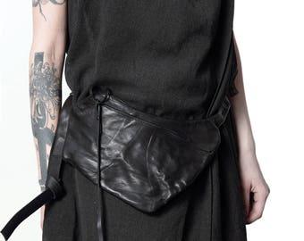 leather hip bag 009M-black