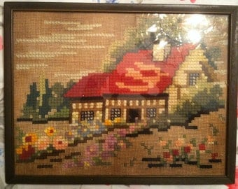 Antique Yarn Art Picture Country Setting Framed