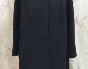 Vintage Black Wool Swing Coat With Fur Collar, Size Large, Wool Coat, Swing Coat