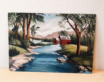 Vintage Landscape Painting, Red barn, Barn on the river, Country Scene Painting, Lake Painting, Barn Painting, Original Wall Art