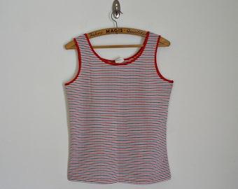 SALE ! Vintage 70s striped tank top // Size M / L