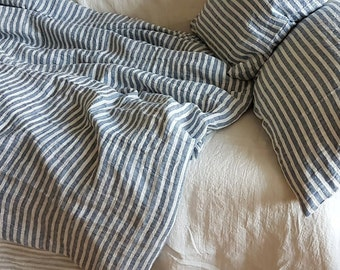 Soft nautic striped linen duvet cover sewn from stonewashed blue and white striped pure linen, Queen, King, custom linen bedding