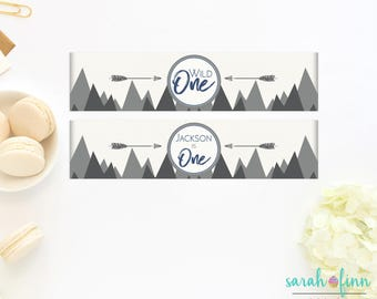 Water Bottle Labels, Wild One First Birthday Labels, Mountains, Teepee, Adventure, Explore, Printable, Bottle Wraps, Napkin Rings, DIY