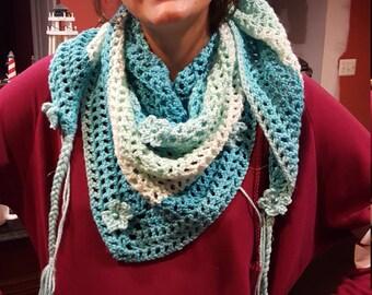 Shades of Aqua scruffy scarf