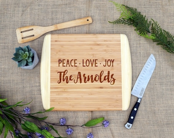 Peace Love Joy Cutting board w/ Custom Last Name, Personalized, Cheese Board, Laser Engraved Bamboo, Holiday, Christmas, Gift, Present, OBB