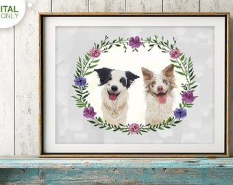 custom dog portrait, Custom pet portrait, personalized dog, dog illustration, dog memorial, Dog birthday gift, unique christmas gift