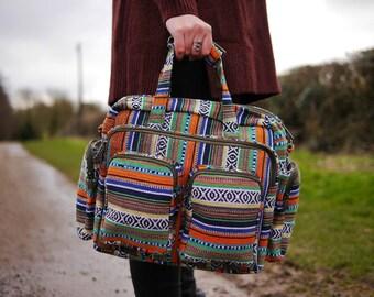 Handwoven Cotton Multi-pocket Big Bag - Tropical - Shoulder, handbag, baby bag. Vegan Hippy Festival Boho Travel Eco