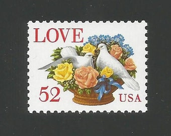 10 Love Victorian Dove & Roses Vintage Postage Stamps, 52 Cents, Unused # 2815