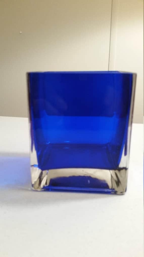 Vintage Square Cobalt Blue Blown Art Glass Vase Candle