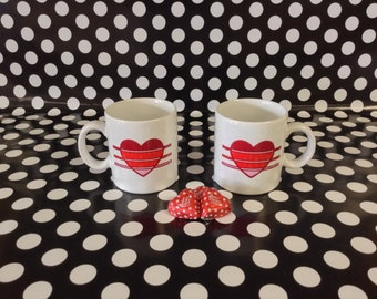 Coffee for Two~Set of 2~Red Heart~White~Ceramic~Japan