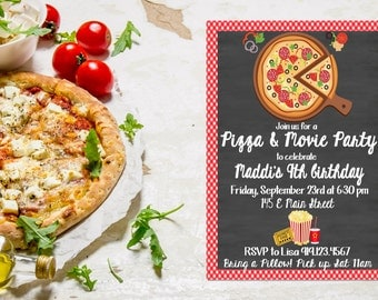 Pizza and Movie Party Invitation,  Pizza Party,  Pizza Movie Night,  Pizza Invitation,  Pizza Birthday Invitation,  Pizza & Movie Invite