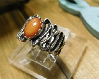 Pretty Sterling Silver Ring With Orange Stone Size 5.5
