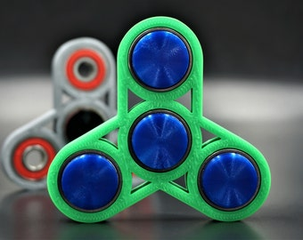 Fidget Spinner Four Bearing Star Frame with Center Caps 3D Printed Custom Colors