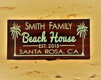 Beach House Sign Beach Sign Island Life Decor Personalized Beach Sign Coastal Beach Decor  BeachHouse Signs Outdoor Personalized Beach House
