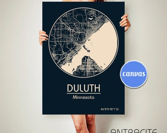 DULUTH Minnesota CANVAS Map Duluth Minnesota Poster City Map Duluth Minnesota Art Print Duluth Minnesota
