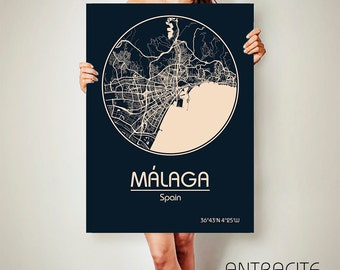 Málaga Spain CANVAS Map Málaga Spain Poster City Map Málaga Spain Art Print Málaga Spain poster Málaga Spain map art Poster Málaga Spain map