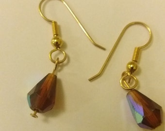 Handmade Gold Plated Purple/Pink Based Iridescent Teardrop Shaped Bead Dangle Drop Earrings Boho Chic