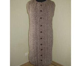 Cardigan Coat Jacket XL Knit Crochet Handmade Wool