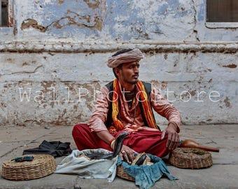India Photography, Cobra Snake Charmer, Snake Tamer, Indian Snake Charmer, Travel Photography, Fine Art Photography, India Print Art