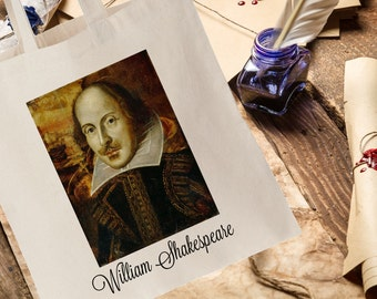 Literature Tote Bag, William Shakespeare Tote Bag, White Tote Bag, Limited Edition, Writer's Tote Bag, Unique Tote bag, Limited Edition Tote