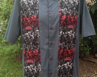 The Walking Dead Men's Shirt By Maria B. Vintage Shirt & The Walking Dead Fabric. Size Large.