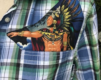 Aztec Rockabilly Shirt Chicano Aztlan Pyramids Eco Upcycled Size Large