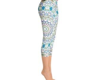 Mid Rise Printed Capri Yoga Pants - Unique Mandala Tights, Ocean Blue and Sea Green Boho Beach Leggings, Yoga Wear Leggings
