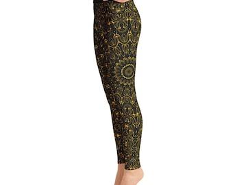 Amber Yoga Pants - Black Leggings with Yellow Mandala Designs for Women, Printed Leggings, Pattern Yoga Tights