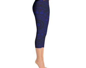 Capris - Blue Yoga Pants, Black Leggings with Blue Mandala Designs for Women, Printed Leggings, Pattern Yoga Tights