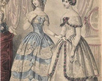 Victorian Fashion Plate - Antique Illustration 1800s Engraving - Graham's Magazine 1850