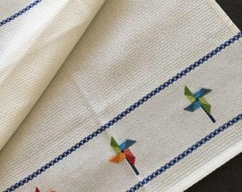 Cross stitched kitchen cloth towel.