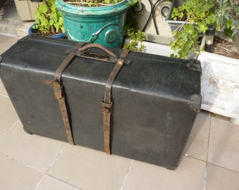 trunk suitcase black strips very old transport France french leather case
