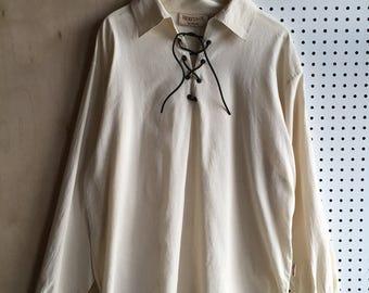 Vintage Ghillie Jacobean Scottish Highlander Shirt in Cream Size XL