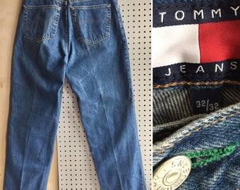 Rare Unique 90s Tommy Hilfiger Logo Patch Denim Jeans